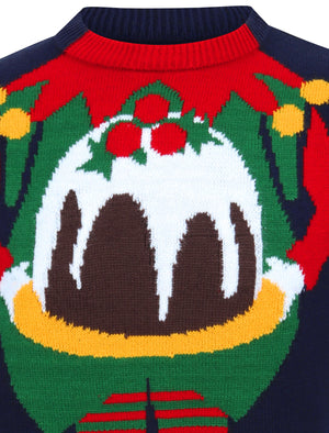 Chill Out Elf Motif Novelty Christmas Jumper in Ink – Season's Greetings