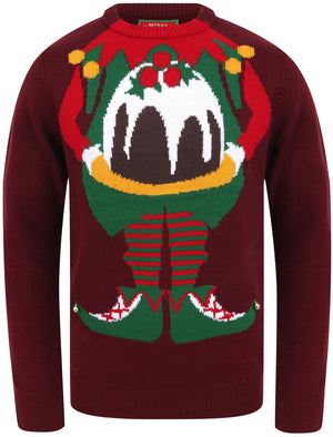 Chill Out Elf Motif Novelty Christmas Jumper in Oxblood – Season's Greetings