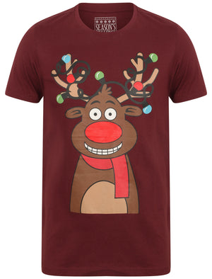 Light Reindeer Novelty Cotton Christmas T-Shirt in Oxblood - Season's Greetings