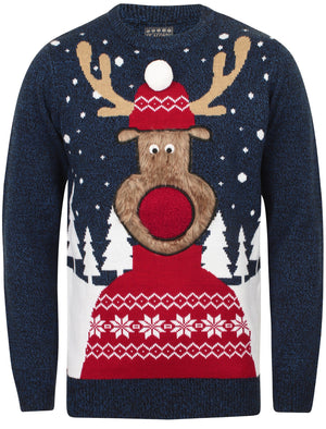 Rudolph Pom Pom Novelty Christmas Jumper in Black / Sapphire - Season's Greetings
