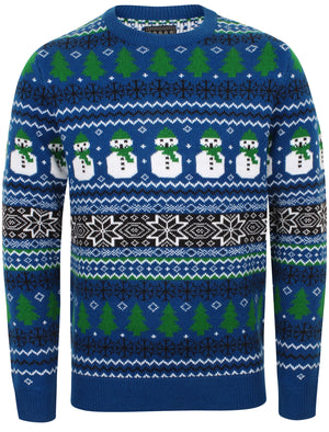 Snow Paper Novelty Christmas Jumper In Sapphire – Season's Greetings