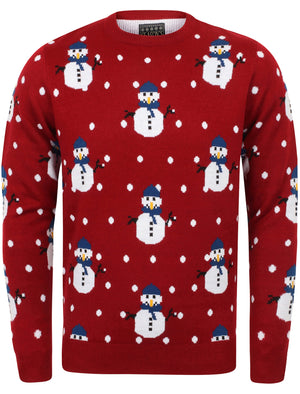 Snowball Novelty Christmas Jumper In Christmas Red – Season's Greetings