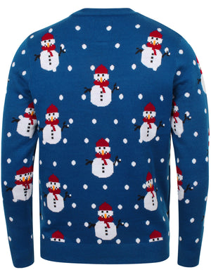 Snowball Novelty Christmas Jumper In Sapphire – Season's Greetings