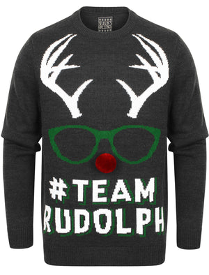 Team Rudolph Novelty Christmas Jumper In Charcoal Marl – Season's Greetings