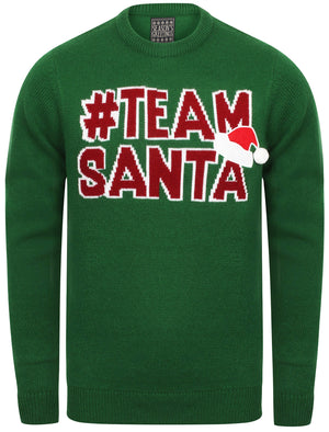 Team Santa Novelty Christmas Jumper In Green – Season's Greetings