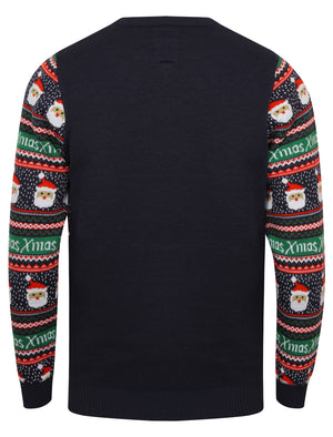 Xmas Novelty Christmas Jumper in Eclipse Blue – Season's Greetings
