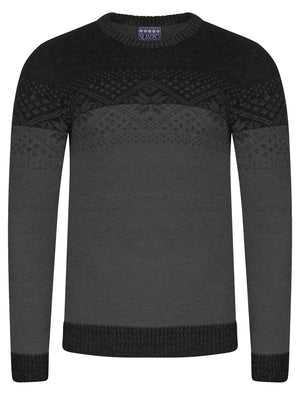 Flake Fairisle Knitted Jumper in Black / Castlerock - Season's Greeting
