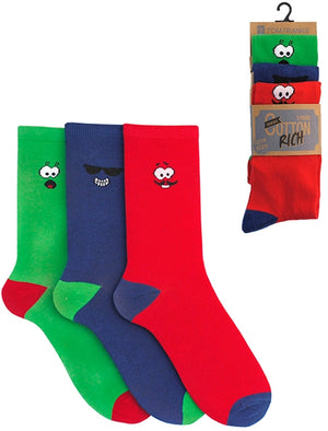 Tyne 3 Pack Cotton Rich Mood Socks in Green / Blue / Red