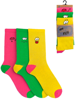 Tyne 3 Pack Cotton Rich Mood Socks in Neon Pink / Green / Yellow