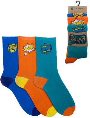 Mckenna 3 Pack Cotton Rich Comic Book Socks in Blue / Orange / Turquoise