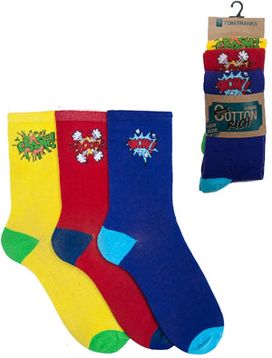 Mckenna 3 Pack Cotton Rich Comic Book Socks in Yellow / Red / Purple