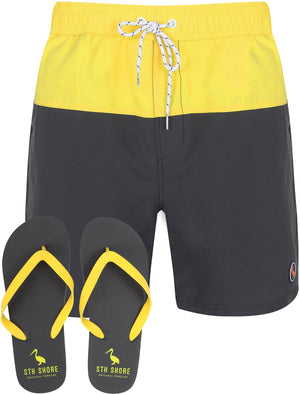 Keone Swim Shorts With Free Matching Flip Flops In Blazing Yellow - South Shore