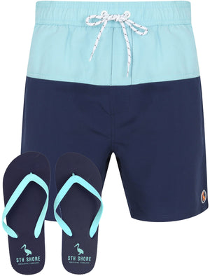 Keone Swim Shorts With Free Matching Flip Flops In Petit Four Blue - South Shore