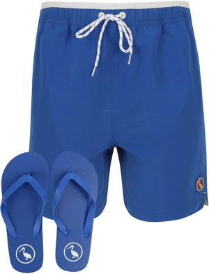 Marloes Swim Shorts With Free Matching Flip Flops In Sea Surf Blue - South Shore