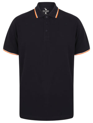 Osten Basic Cotton Pique Polo Shirt With Tipping in Navy – South Shore