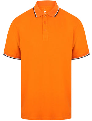 Osten Basic Cotton Pique Polo Shirt With Tipping in Russet Orange – South Shore