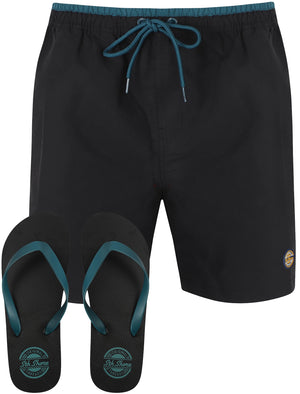 Pembroke Swim Shorts In Jet Black With Free Matching Flip Flops – South Shore
