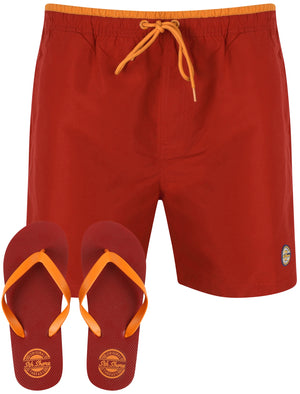 Pembroke Swim Shorts In Rio Red With Free Matching Flip Flops – South Shore