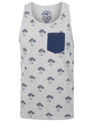 Shade Palm Print Vest Top with Chest Pocket In Light Grey Marl - South Shore