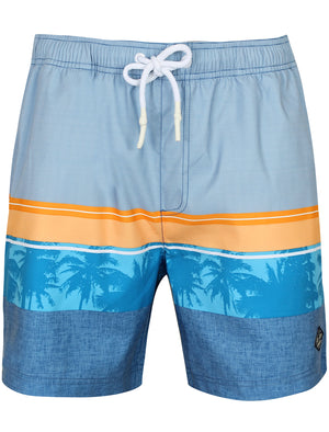 Bigham Contrast Print Swim Shorts in Swedish Blue - South Shore