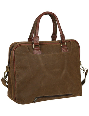 Olson Textured Faux Leather Laptop Bag in Brown