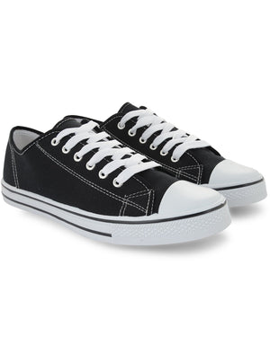 Mens Taylor Low Top Lace Up Canvas Trainers in Black