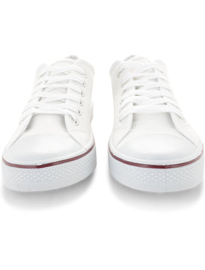 Mens Taylor Low Top Lace Up Canvas Trainers in White