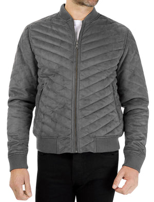 Myers Quilted Suede Bomber Jacket in Grey