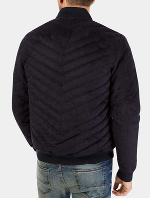 Myers Quilted Suede Bomber Jacket in Navy