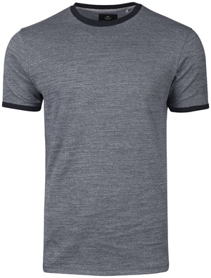 Logan Crew Neck T-Shirt with Contrast Neck in Denim