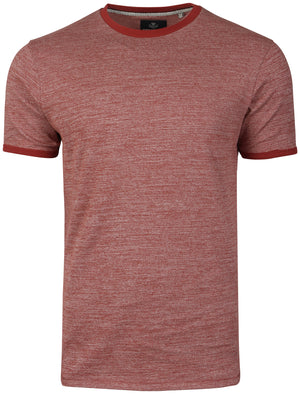 Logan Crew Neck T-Shirt with Contrast Neck in Burgundy