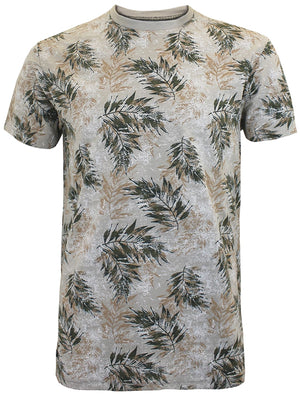 Newberry Tropical Leaf Crew Neck T-Shirt in Fawn