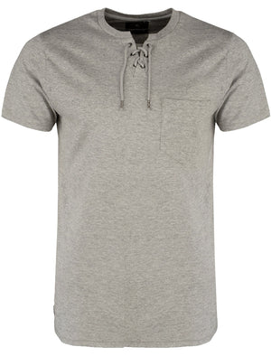 Ripon Cotton T-Shirt with Drawstrings and Chest Pocket in Grey Marl