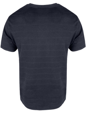 Stockton Crew Neck Cotton T-Shirt with Striped Texture in Navy