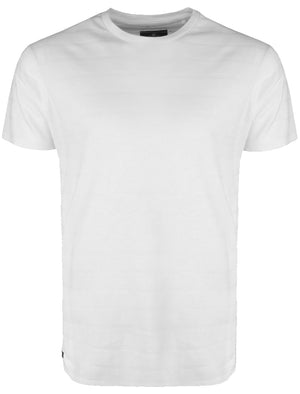 Stockton Crew Neck Cotton T-Shirt with Striped Texture in White
