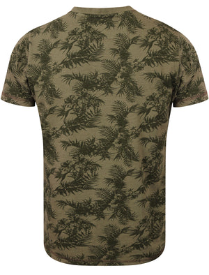 Otto Tropical Leaf Print Henley T-Shirt in Amazon Khaki – Tokyo Laundry