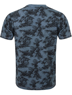 Otto Tropical Leaf Print Henley T-Shirt in Vintage Indigo – Tokyo Laundry