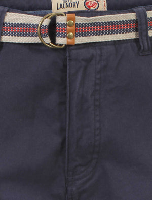 Mens Tokyo Laundry Armel midnight blue shorts with belt