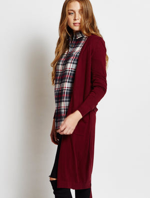 Amara Reya Coati oxblood long belted cardigan