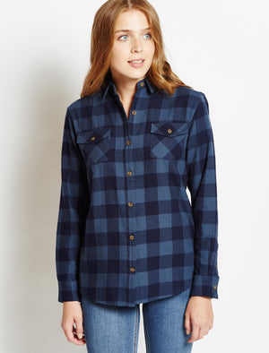 Women's classic checked flannel blue shirt - Tokyo Laundry
