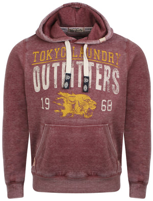 Men's cracked print design red hoodie - Tokyo Laundry