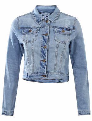 Women's Cropped Length Grazed Patches Denim Jacket - Tokyo Laundry