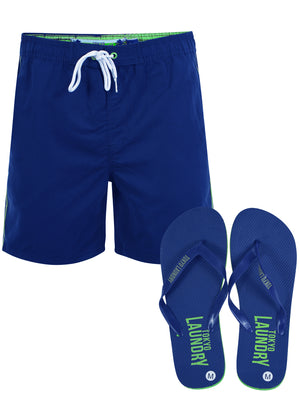 Mostyn Swim Shorts with Free Matching Flip Flops in Ocean - Tokyo Laundry