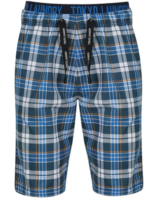 Greet Checked Print Cotton Lounge Shorts in Blue – Tokyo Laundry