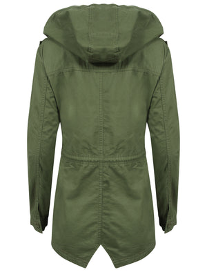 Emer Cotton Twill Hooded Parka Jacket In Khaki – Tokyo Laundry