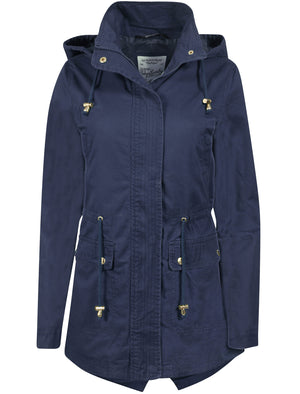 Latitude Cotton Twill Parka Jacket In Navy - Tokyo Laundry