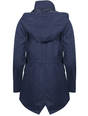 Latitude Cotton Twill Parka Jacket In Navy – Tokyo Laundry