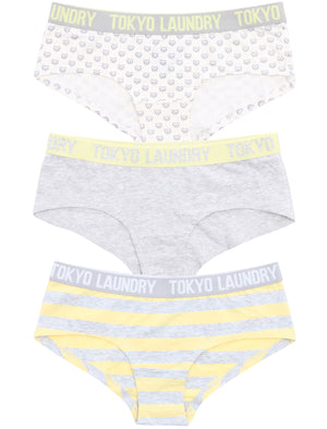 Adeline (3 Pack) Assorted Print Short Briefs In Yellow / Grey / Ivory - Tokyo Laundry