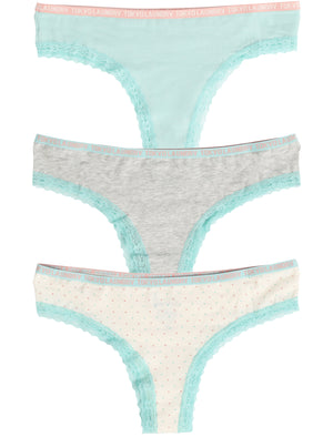 Hetty (3 Pack) High Leg Lace Knickers In Grey Marl / Pastel Turq / Ivory - Tokyo Laundry