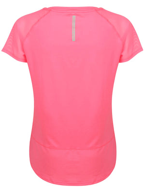 Larke Mesh Panel Fitted Sports Top in Neon Pink – Tokyo Laundry Active